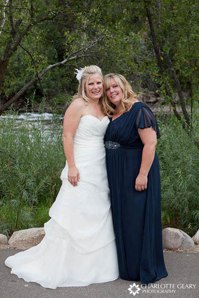 Bridesmaid in navy blue dress