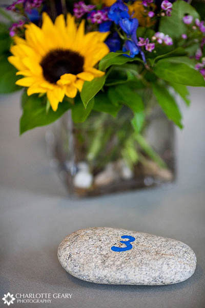 Painted stone as a table number