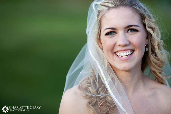 Bride with half-up curly hair