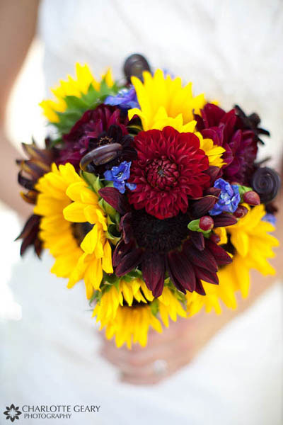 Red and yellow bouquet with sunflowers