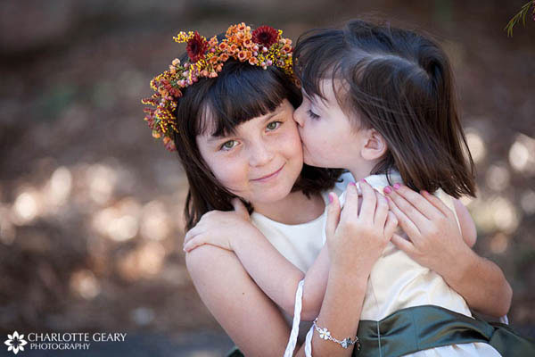 Flower girls at autumn wedding