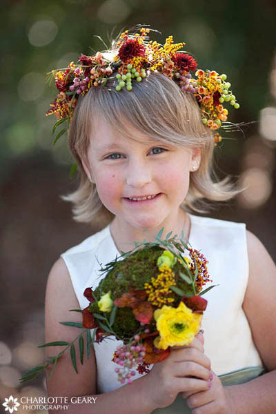 Flower girl at a fall wedding