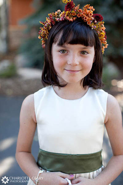 Flower girl in orange and green