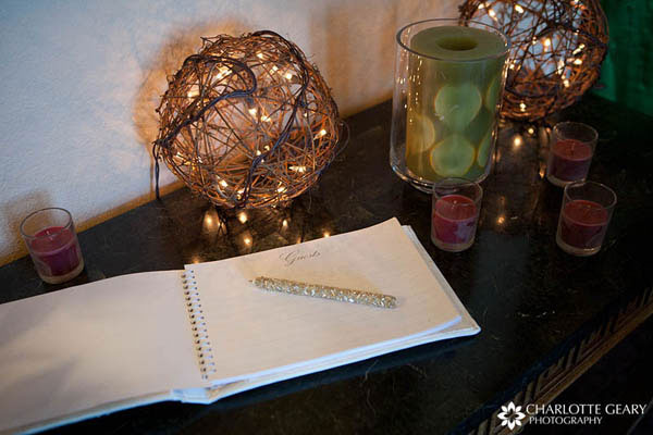Wedding guest book with beaded silver pen
