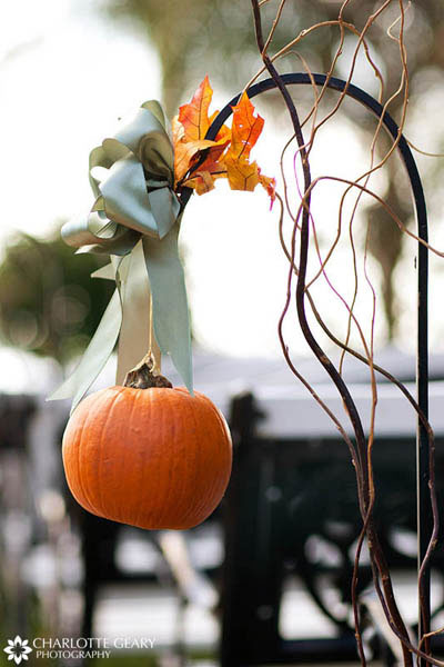 Pumpkin hanging from shepherds hook