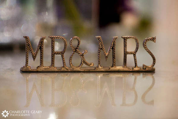 Sign for the bride and groom