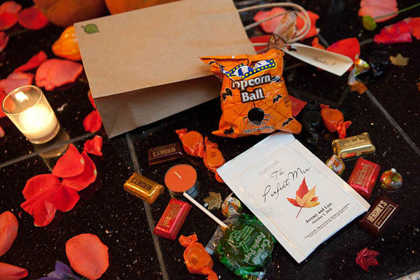 Bag of Halloween treats as a favor at an October wedding