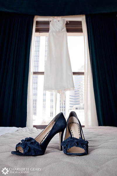 Bride with white shoes Navy blue wedding shoes