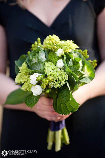 Bridesmaid with green bouquet