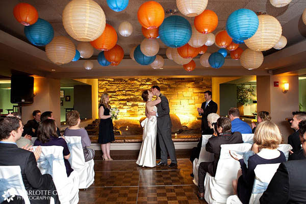Wedding ceremony decorated with hanging lanterns
