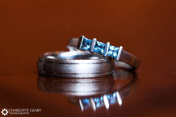 Wedding ring with blue stones