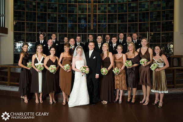 Wedding party in brown and black