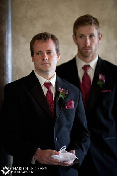 Groomsmen in red ties
