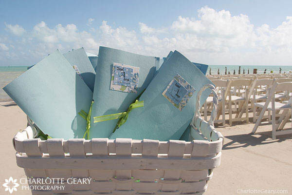 Blue wedding programs for a beach wedding