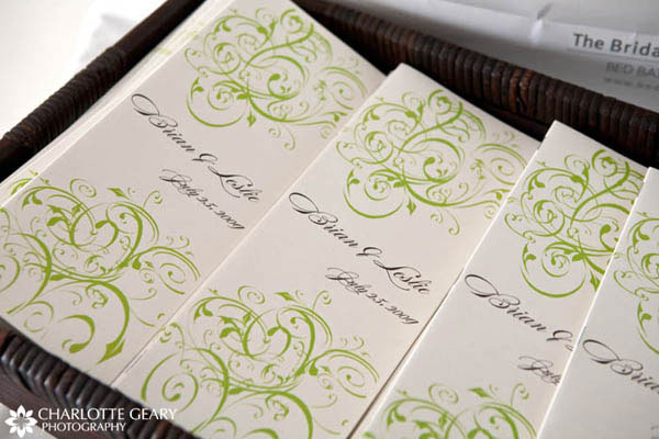 Wedding programs for a green and brown wedding theme