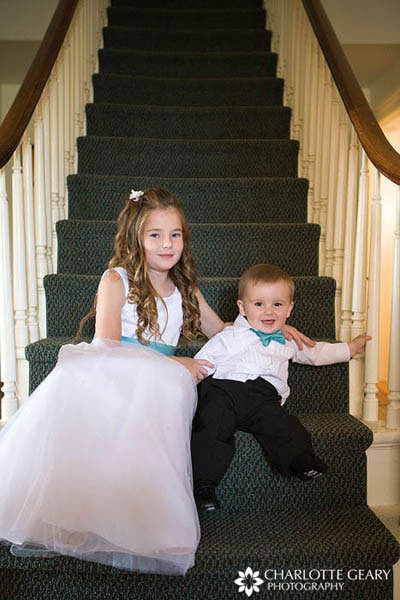 Flower girl and ring bearer in turquoise and white