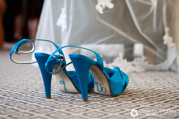 """I do"" written on soles of the bride"