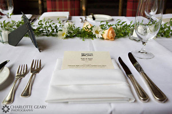 Wedding place setting with menu card