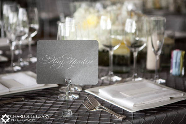 Silver calligraphy table name sign