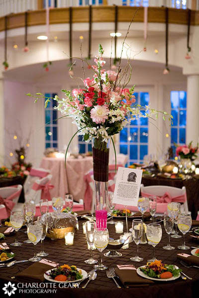 Pink and brown table setting with tall centerpiece