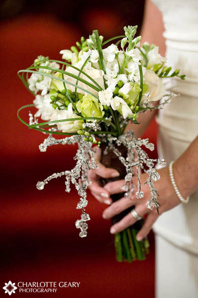 Bouquet with crystals for a winter wedding