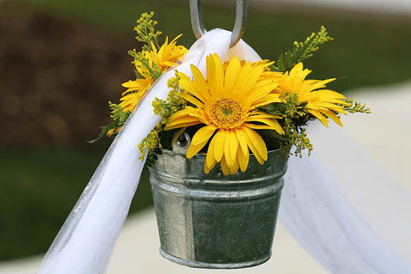 Yellow daisies in metal buckets hung from shepherds hooks