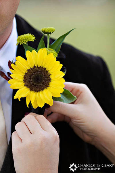 Yellow sunflower boutonniere