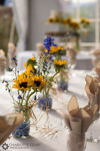 White wedding centerpiece Sunflower centerpieces in mason jars
