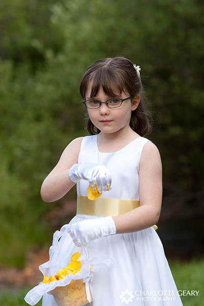 Flower girl in white and yellow