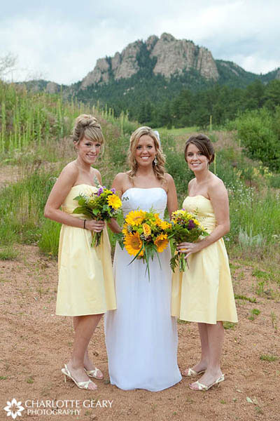 Bridesmaids in yellow dresses